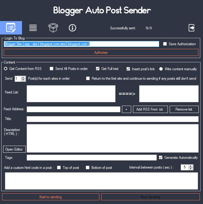 Blogger Auto Post Sender